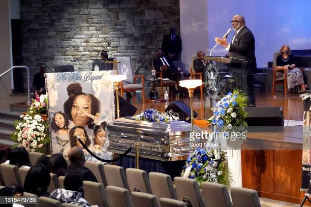Bishop Timothy Clarke speaks at the funeral service for 16-year-old Ma'Khia Bryant at the First Church of God on April 30, 2021 in Columbus, Ohio....