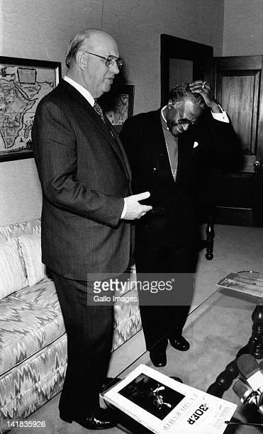 Bishop Tutu after meeting with PW Botha