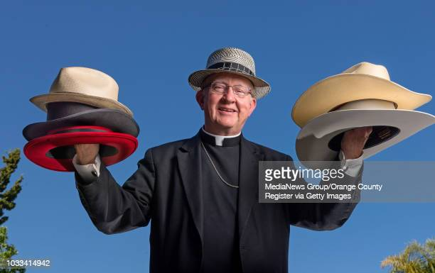Bishop Vann of the Diocese of Orange wears his Carlos Santana hat as he deploys the variety of fedoras stetsons and berets that he wears after a bout...