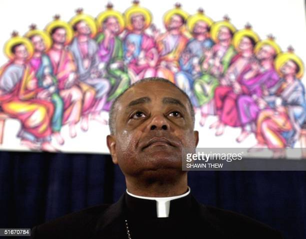 Bishop Wilton D Gregory President of the United States Conference of Catholic Bishops delivers his Presidential address 11 November 2002 during the...