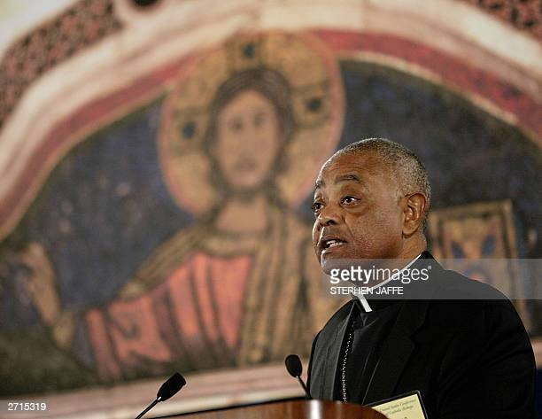 Bishop Wilton Gregory chairman of the United States Conference of Catholic Bishops addresses the annual conference of Catholic Bishops 10 November...
