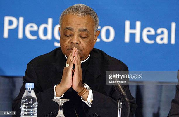 Bishop Wilton Gregory listens to the results of an audit of 195 US dioceses performed to assess compliance with the Charter for the Protection of...