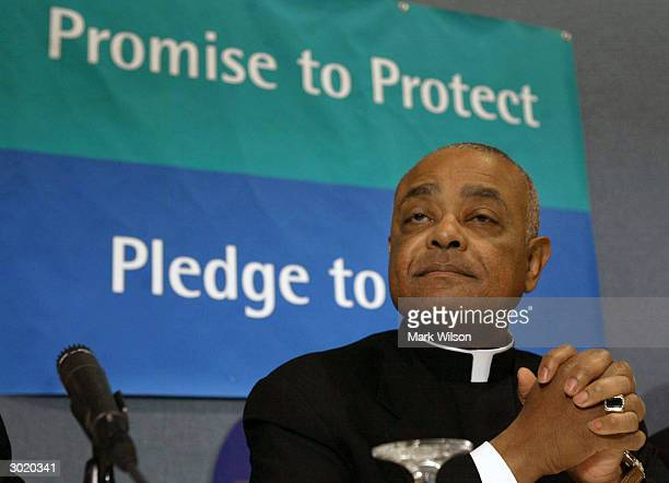 Bishop Wilton Gregory president of the US Conference of Catholic Bishops speaks about a National Review Board Report February 27 2004 in Washington...