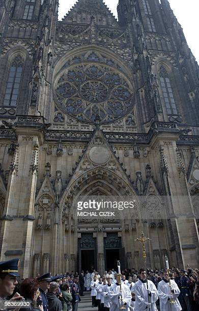 Bishops and priests leave the Saint Vitus Cathedral after the inauguration mass for Prague's new Archbishop Dominik Duka on April 10, 2010 at Prague...