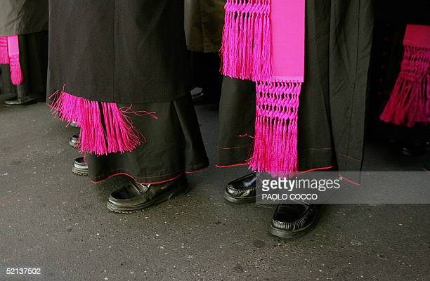 Bishops from a delegation of Sant Egidio community wait to enter the Policlinico Gemelli's hospital in Rome 05 February 2005. Some of 100 bishops in...