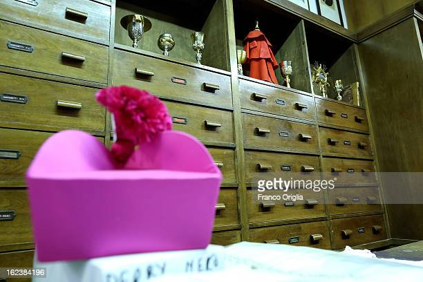 Bishop's hat is seen in the shop of Stefano Gammarelli the Pope's taylor on February 22 2013 in Rome Italy A new Pope will be elected by the...