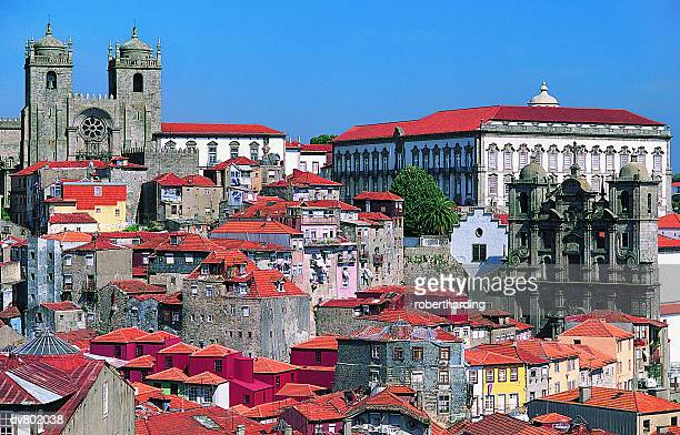 bishops palace and city cathedral, porto, portugal - porto portugal stock pictures, royalty-free photos & images