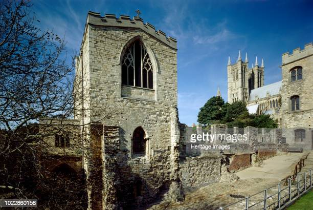 Bishop's Palace Lincoln Lincolnshire circa 1980circa 2017 View of the 19th century chapel Alnwick Tower and the Cathedral Artist Historic England...