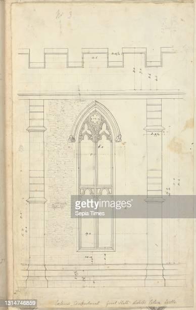 Bishop's Palace, Wells, Somerset: Elevation of the Great Hall, Augustus Welby Northmore Pugin, 1812–1852, British, Studio of Augustus Charles Pugin,...