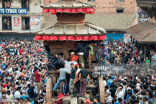 Bisket Jatra the Nepali New Year is celebrated |n Bhaktapur In one of the most exciting annual events in the Kathmandu valley a huge and ponderous...