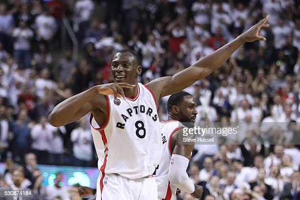 Bismack Biyombo celebrates a huge dunk as the Toronto Raptors play the Miami Heat in game five of their Eastern Conference Semifinal at the Air...