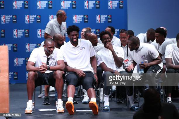Bismack Biyombo Joel Embiid AlFarouqAminu and Luol Deng of Team Africa during the Opening Ceremony at the Basketball Without Boarders Africa program...