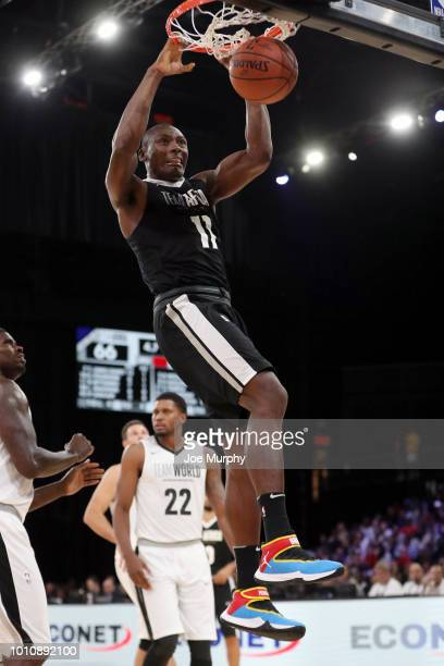 Bismack Biyombo of Team Africa dunks against Team World during the 2018 NBA Africa Game as part of the Basketball Without Borders Africa on August 4,...