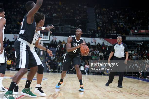 Bismack Biyombo of Team Africa handles the ball against Team World during the 2018 NBA Africa Game as part of the Basketball Without Borders Africa...