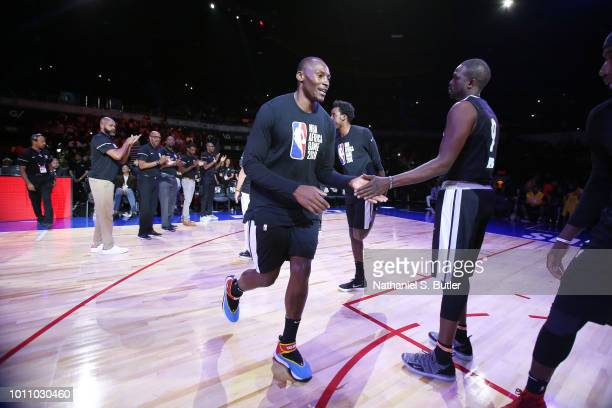 Bismack Biyombo of Team Africa is introduced before the game against Team World during the 2018 NBA Africa Game as part of the Basketball Without...