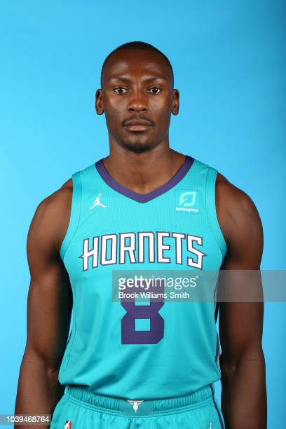 Bismack Biyombo of the Charlotte Hornets poses for a head shot during media day on September 24 at the Spectrum Center in Charlotte North Carolina...