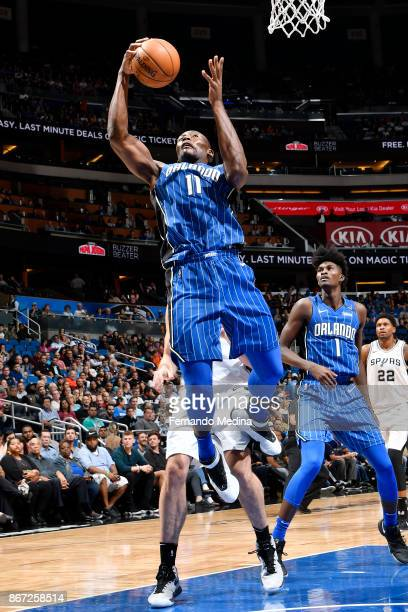Bismack Biyombo of the Orlando Magic drives to the basket against the San Antonio Spurs on October 27 2017 at Amway Center in Orlando Florida NOTE TO...