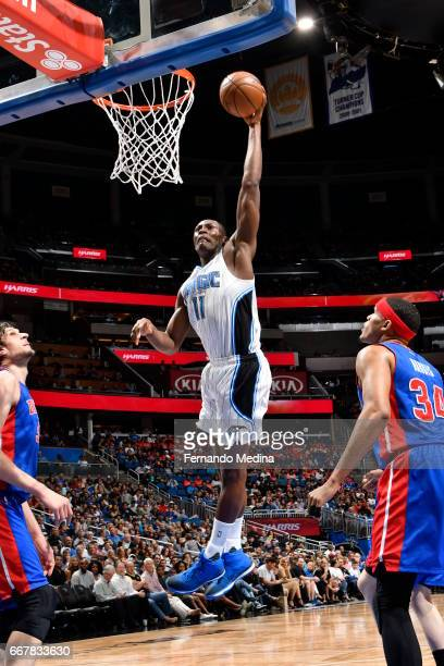 Bismack Biyombo of the Orlando Magic dunks against the Detroit Pistons on April 12 2017 at the Amway Center in Orlando Florida NOTE TO USER User...