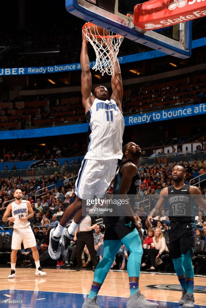 Bismack Biyombo #11 of the Orlando Magic dunks the ball against the Charlotte Hornets on February 14, 2018 at Amway Center in Orlando, Florida.