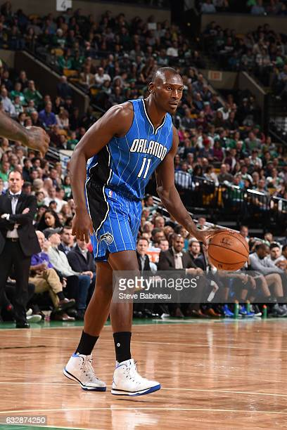 Bismack Biyombo of the Orlando Magic handles the ball against the Boston Celtics on January 27 2017 at the TD Garden in Boston Massachusetts NOTE TO...