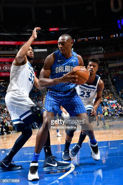 Bismack Biyombo of the Orlando Magic handles the ball against the Minnesota Timberwolves on January 16 2018 at Amway Center in Orlando Florida NOTE...