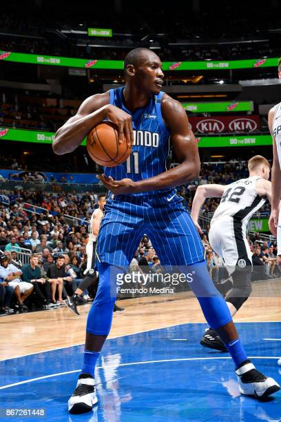 Bismack Biyombo of the Orlando Magic handles the ball against the San Antonio Spurs on October 27 2017 at Amway Center in Orlando Florida NOTE TO...