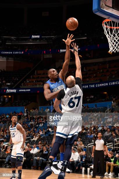 Bismack Biyombo of the Orlando Magic shoots the ball against the Minnesota Timberwolves on January 16 2018 at Amway Center in Orlando Florida NOTE TO...
