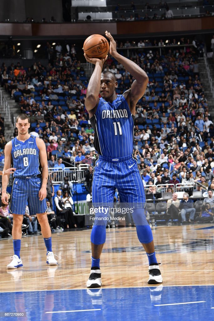 Bismack Biyombo #11 of the Orlando Magic shoots the ball against the San Antonio Spurs on October 27, 2017 at Amway Center in Orlando, Florida.