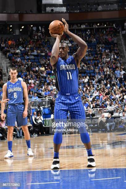 Bismack Biyombo of the Orlando Magic shoots the ball against the San Antonio Spurs on October 27 2017 at Amway Center in Orlando Florida NOTE TO USER...