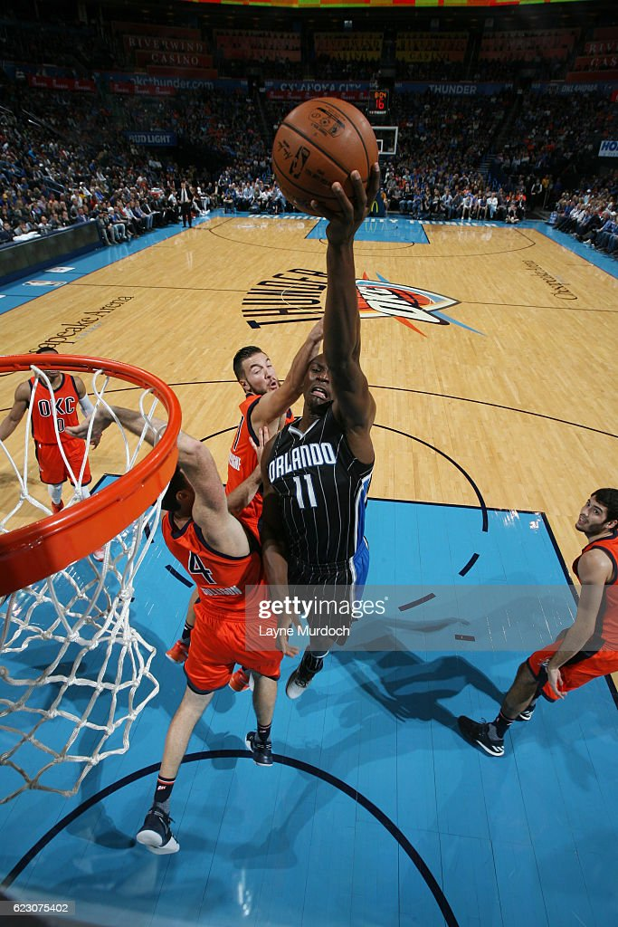 Bismack Biyombo #11 of the Orlando Magic shoots the ball during a game against the Oklahoma City Thunder on November 13, 2016 at Chesapeake Energy Arena in Oklahoma City, Oklahoma.