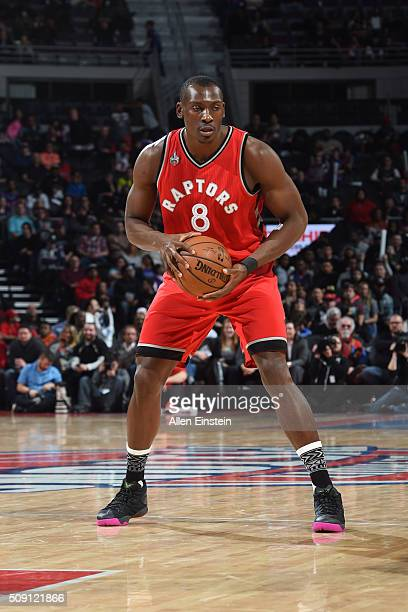 Bismack Biyombo of the Toronto Raptors handles the ball against the Detroit Pistons on February 8 2016 at The Palace of Auburn Hills in Auburn Hills...