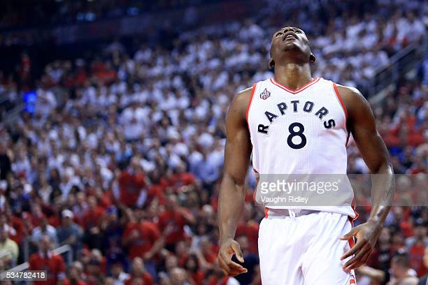 Bismack Biyombo of the Toronto Raptors reacts after being called for a foul against the Cleveland Cavaliers in the first quarter in game six of the...