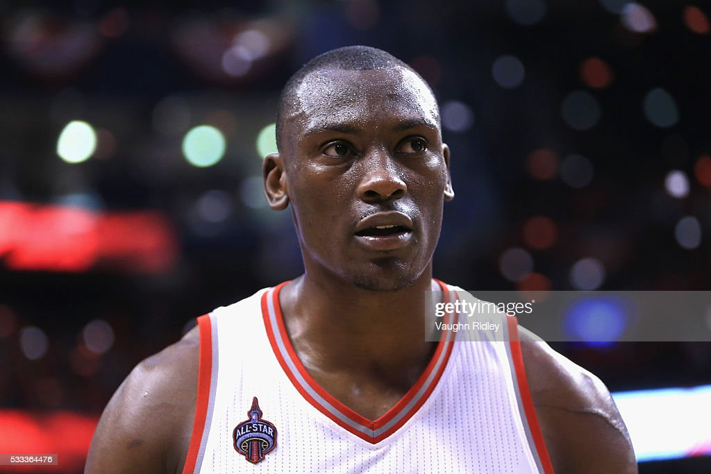 Bismack Biyombo #8 of the Toronto Raptors reacts after defeating the Cleveland Cavaliers 99-84 in game three of the Eastern Conference Finals during the 2016 NBA Playoffs at Air Canada Centre on May 21, 2016 in Toronto, Canada.