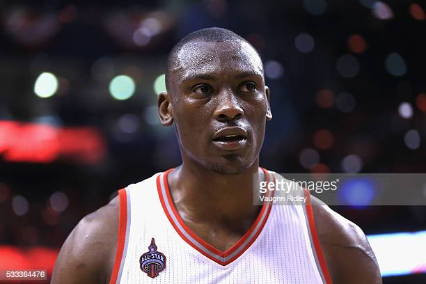 Bismack Biyombo of the Toronto Raptors reacts after defeating the Cleveland Cavaliers 9984 in game three of the Eastern Conference Finals during the...