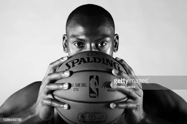 Bismack Biyombo poses for a portrait during the Charlotte Hornets Media Day at the Spectrum Center on September 24 2018 in Charlotte North Carolina