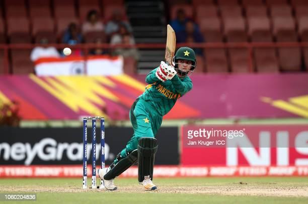 Bismah Mahroof of Pakistan bats during the ICC Women's World T20 2018 match between India and Pakistan at Guyana National Stadium on November 11 2018...
