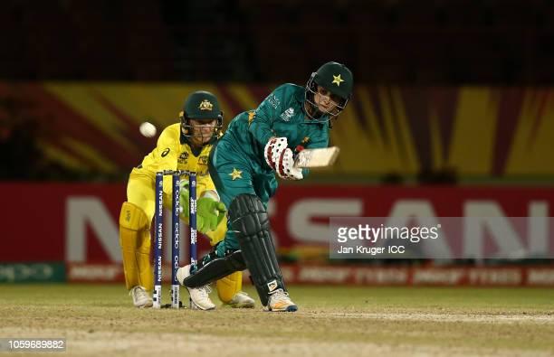 Bismah Mahroof of Pakistan bats with Alyssa Healy of Australia looking on during the ICC Women's World T20 2018 match between Australia and Pakistan...