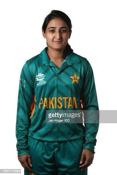 Bismah Mahroof poses during the Pakistan Portraits session ahead of the ICC Women's World T20 2018 tournament on November 5 2018 in Georgetown Guyana
