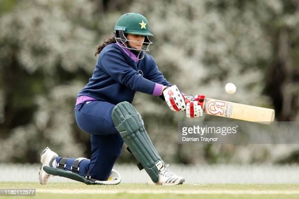 Bismah Maroof bats during the ICC Women's Global Development Squad v Adelaide Strikers at Beaumaris Secondary College on October 10 2019 in Melbourne...