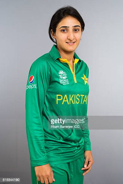 Bismah Maroof during the photocall of the Pakistan team ahead of the Women's ICC World Twenty20 India 2016 on March 13 2016 in Chennai India