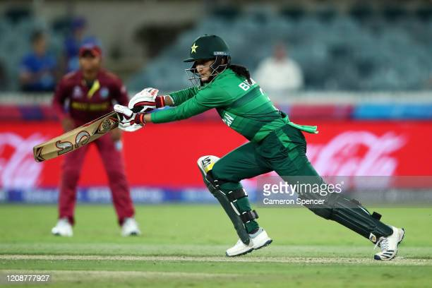 Bismah Maroof of Pakistan bats during the ICC Women's T20 Cricket World Cup match between the West Indies and Pakistan at Manuka Oval on February 26...