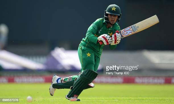 Bismah Maroof of Pakistan bats during the ICC Women's World Cup Warm Up Match between West Indies Women and Pakistan Women at Grace Road on June 20...