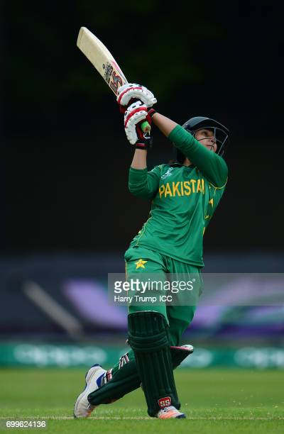 Bismah Maroof of Pakistan bats during the ICC Women's World Cup Warm Up Match between Australia and Pakistan on June 22 2017 in Leicester England