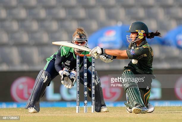 Bismah Maroof of Pakistan bats during the ICC Women's World Twenty20 match between Pakistan Women and Ireland Women played at Sylhet International...