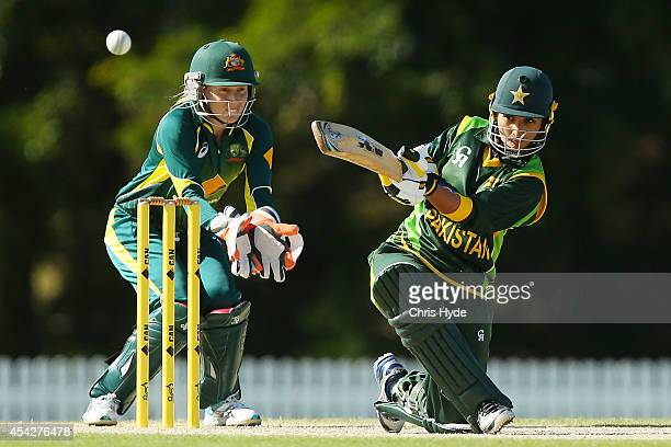 Bismah Maroof of Pakistan bats during the women's international series One Day match between the Australian Southern Stars and Pakistan at Redlands...