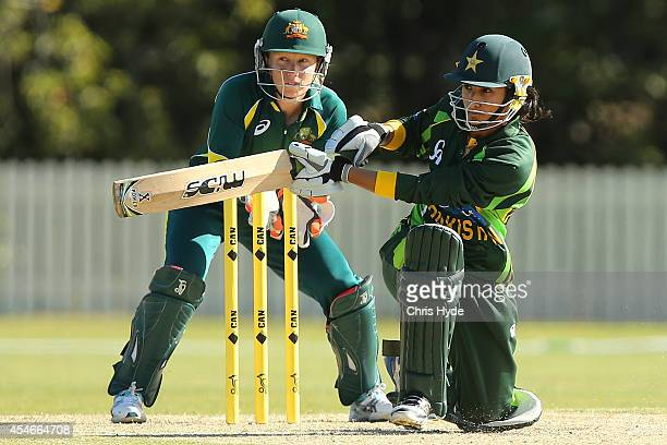 Bismah Maroof of Pakistan bats during the women's international series T20 match between the Australian Southern Stars and Pakistan at Kerrydale Oval...
