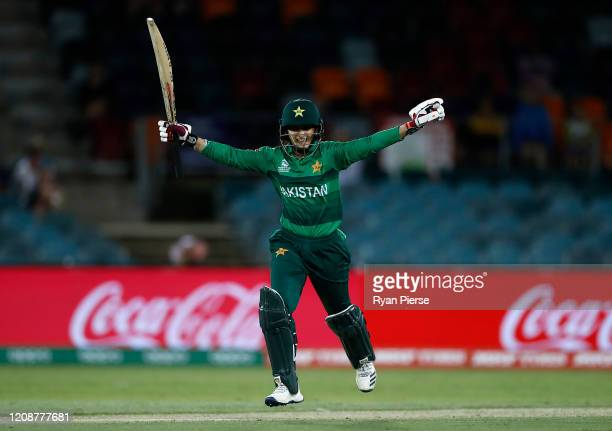 Bismah Maroof of Pakistan celebrates after hitting the winning runs during the ICC Women's T20 Cricket World Cup match between the West Indies and...