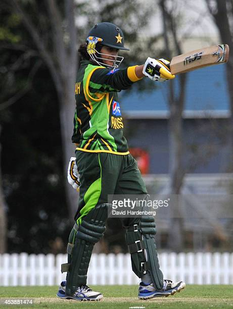 Bismah Maroof of Pakistan celebrates making a half century during the women's international series One Day match between the Australian Southern...