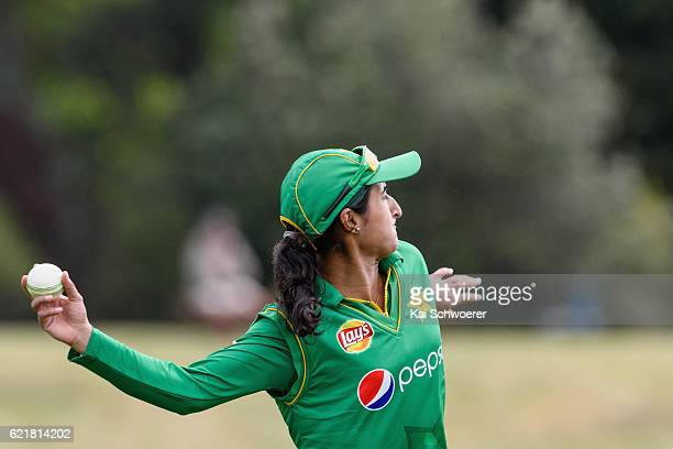 Bismah Maroof of Pakistan in action during the Women's One Day International match between the New Zealand White Ferns and Pakistan on November 9...