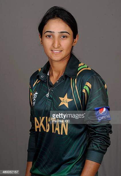 Bismah Maroof of Pakistan poses for a portrait during a women's headshots session before the start of the ICC Women's World T20 at the Sylhet...